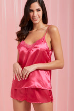 Load image into Gallery viewer, Hot Pink Satin Cami And Shorts Set