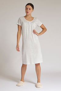 White Check Print Nightgown