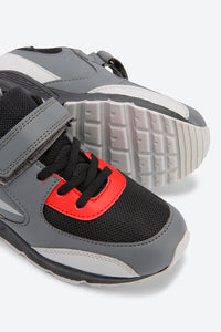 Grey Colour Block Velcro Trainers