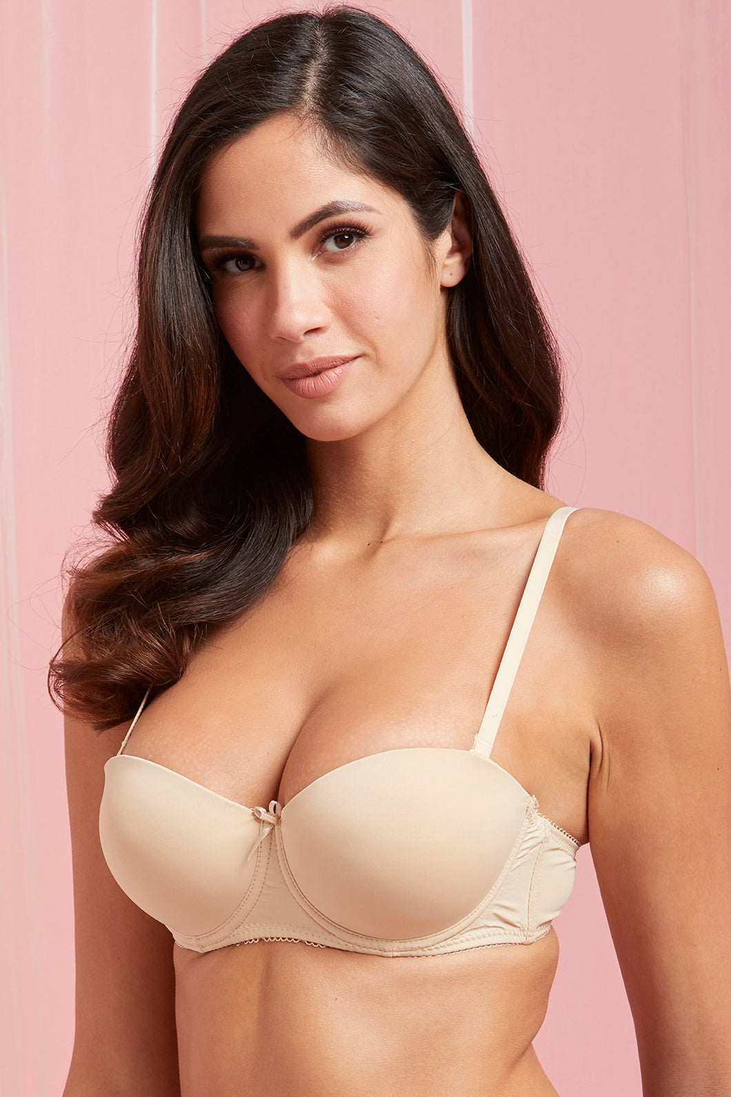Beige/White Plain Padded Balconette Bra (2-Pack)