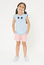 Load image into Gallery viewer, Blue Bow Trim Tshirt