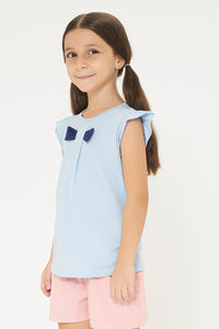 Blue Bow Trim Tshirt