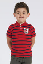Load image into Gallery viewer, Red Horizontal Stripe Polo Shirt