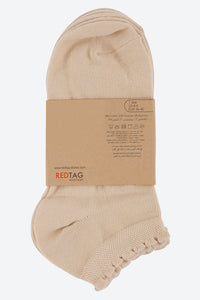 Beige Plain Ankle Socks (3-Pack)