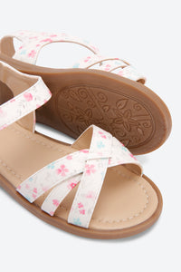 White Flower Print Back Strap Sandal