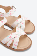 Load image into Gallery viewer, White Flower Print Back Strap Sandal