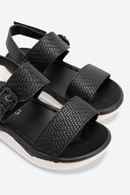Load image into Gallery viewer, Black Textured Upper Casual Sandals