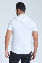 Load image into Gallery viewer, White Hooded Stretch T-Shirt