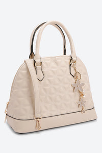 Beige Quilted Bag With Charms