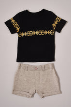 Load image into Gallery viewer, Black Foil Printed T-Shirt and Beige Shorts Set