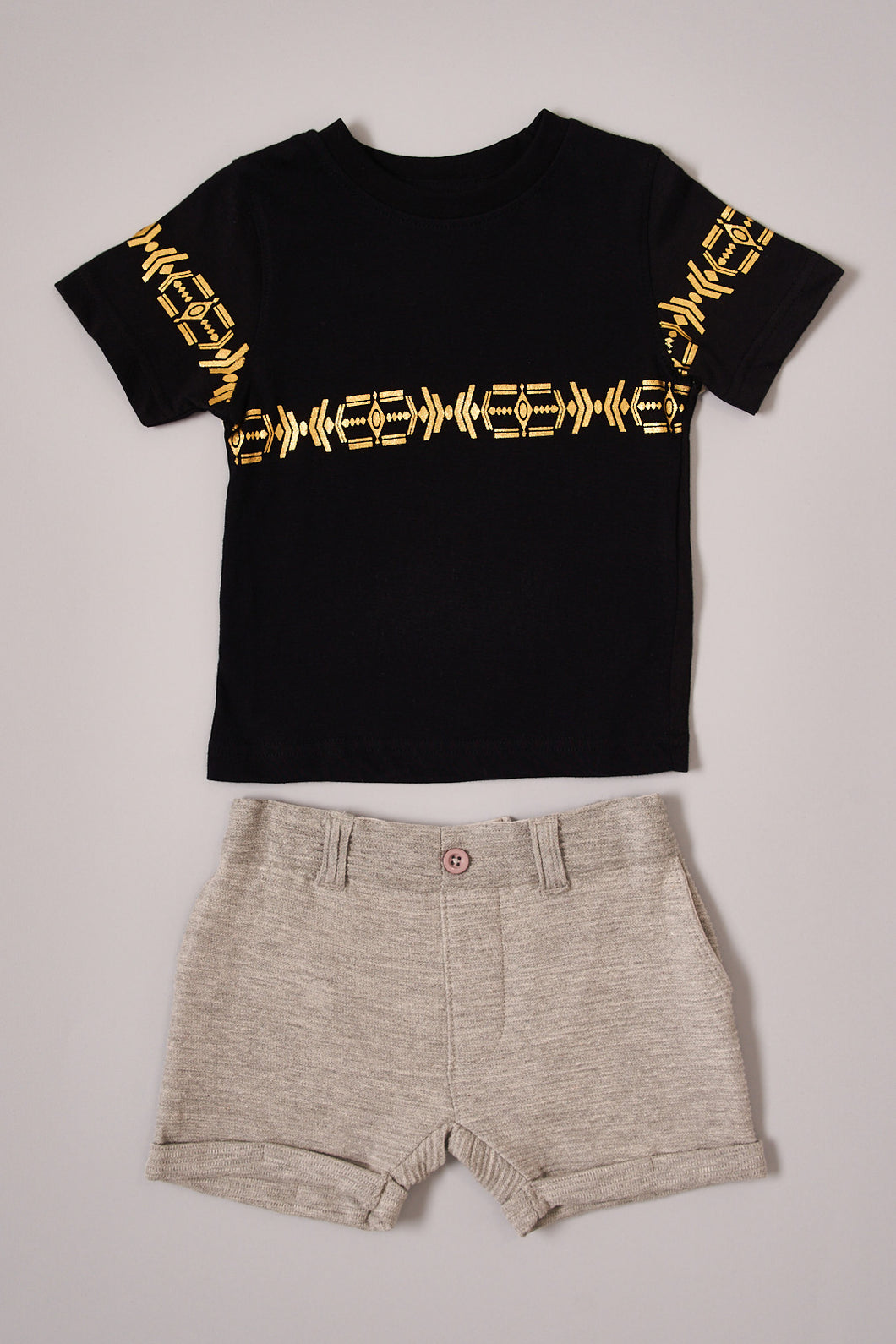 Black Foil Printed T-Shirt and Beige Shorts Set