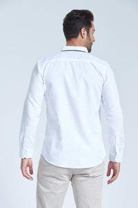 White Double Collar Slimfit Shirt