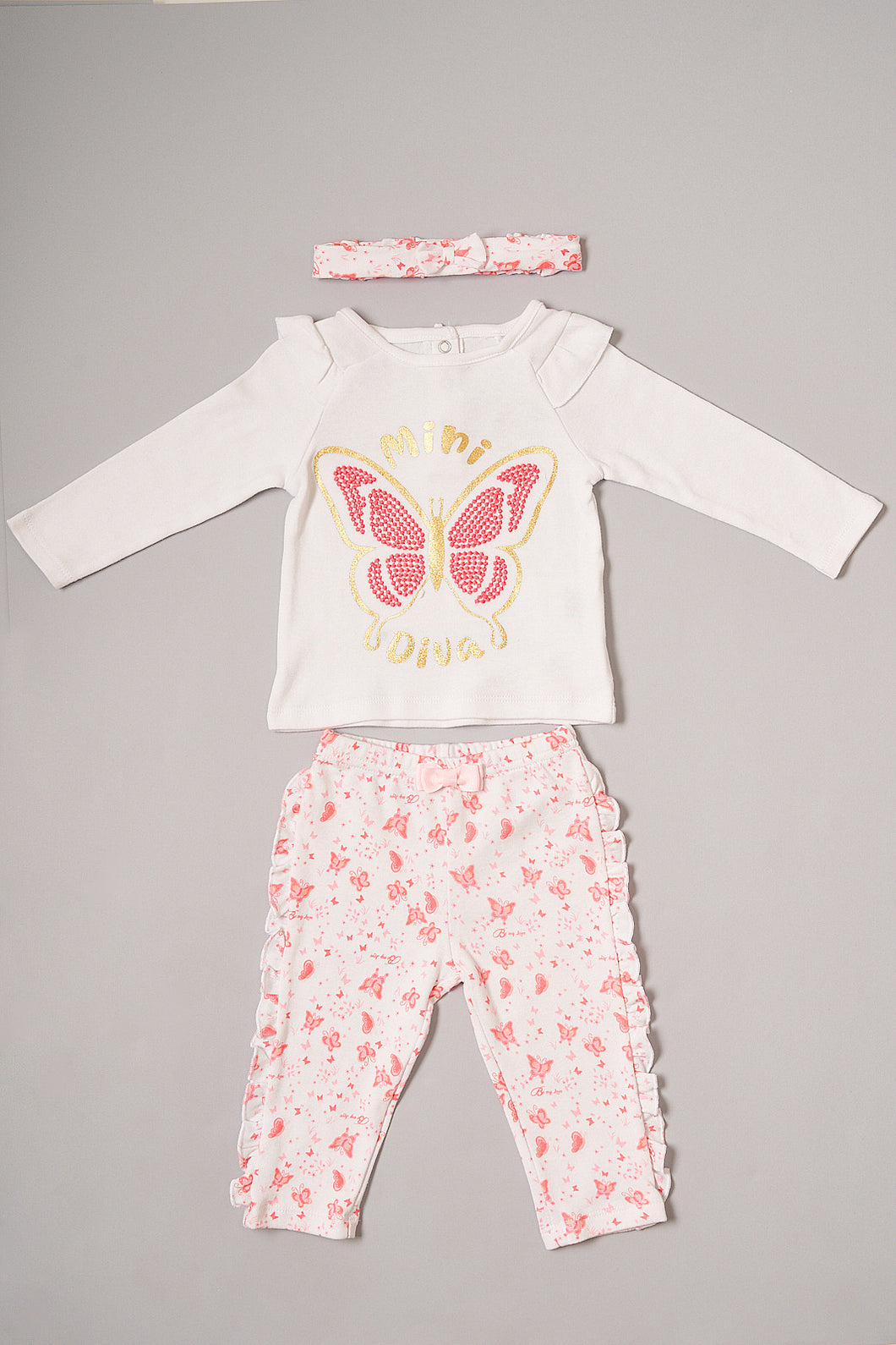 Pink Butterfly Print Pyjama Set With Head Band