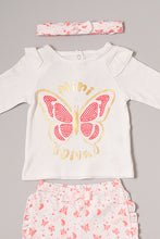 Load image into Gallery viewer, Pink Butterfly Print Pyjama Set With Head Band