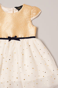 Gold Printed Tutu Party Dress