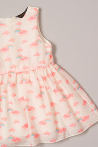 White Cloud Printed Party Dress