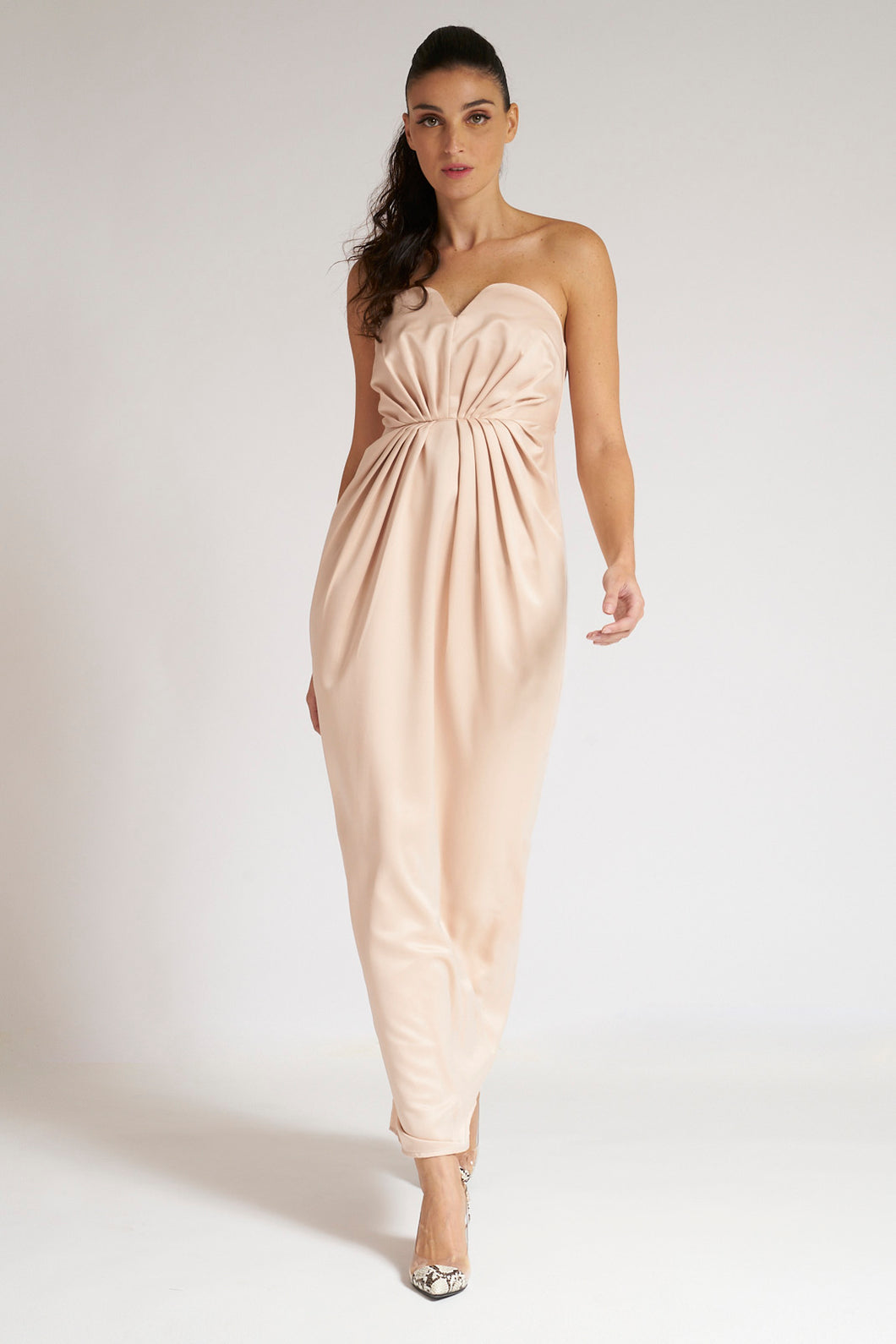 Blush Satin Bandeau-Top Maxi Dress