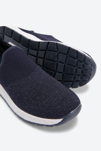Navy Flynit With Glitter Slip On