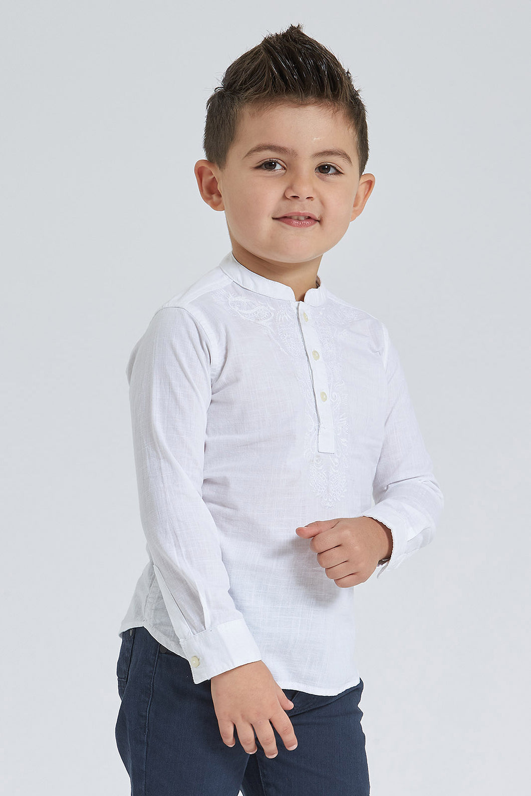 White Embroidered Mandarin Collar Shirt