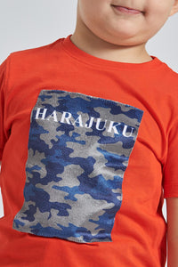 Red Camouflage Flock Print T-Shirt