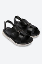 Load image into Gallery viewer, Black Textured Backstrap Sandals