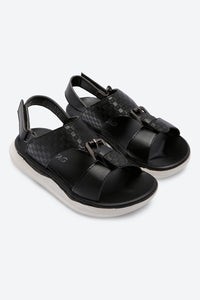 Black Textured Backstrap Sandals