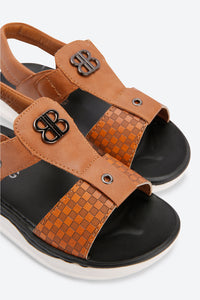 Tan Textured Backstrap Sandals