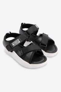 Black Cross Strap Comfort Sandals