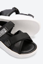 Load image into Gallery viewer, Black Cross Strap Comfort Sandals
