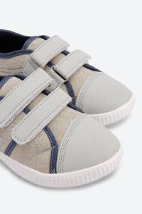 Grey Canvas Velcro Sneakers