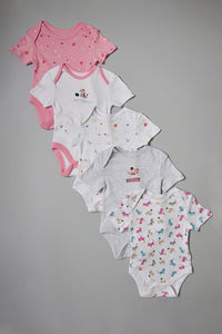 Assorted Cute Cat Print Bodysuits (5 Pack)