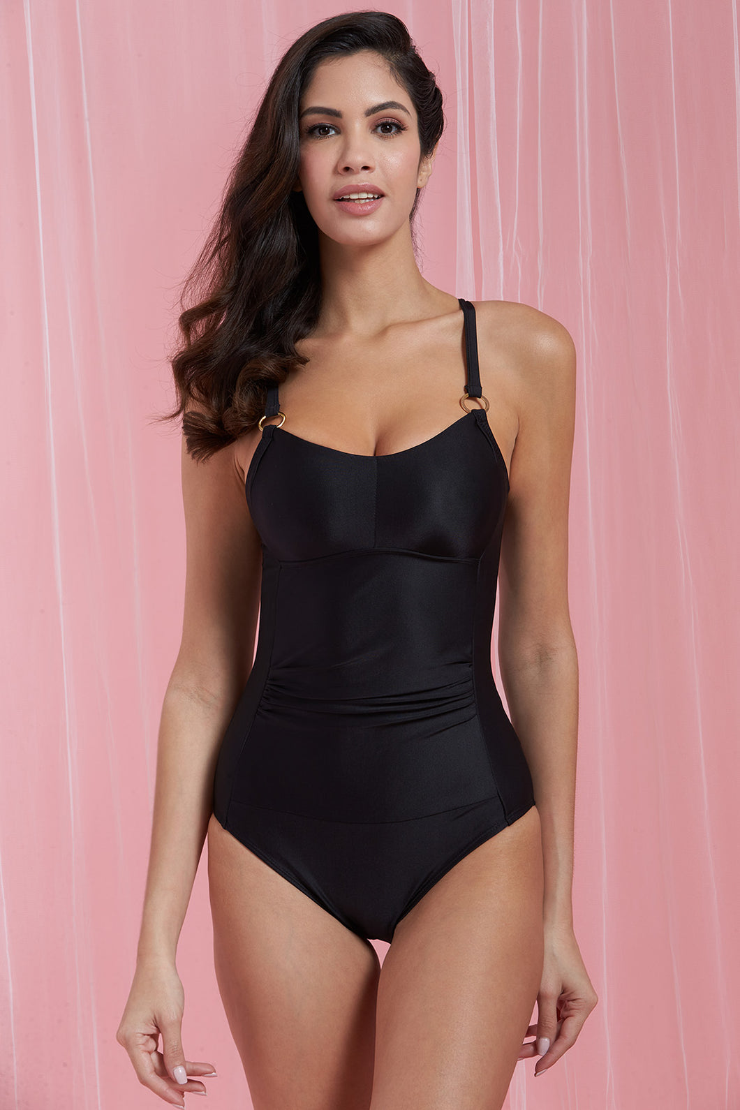 Black Solid Swimsuit
