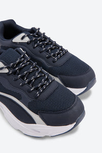 Navy Mesh Chunky Sneakers