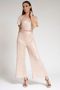Peach Wide Leg Shiny Trousers