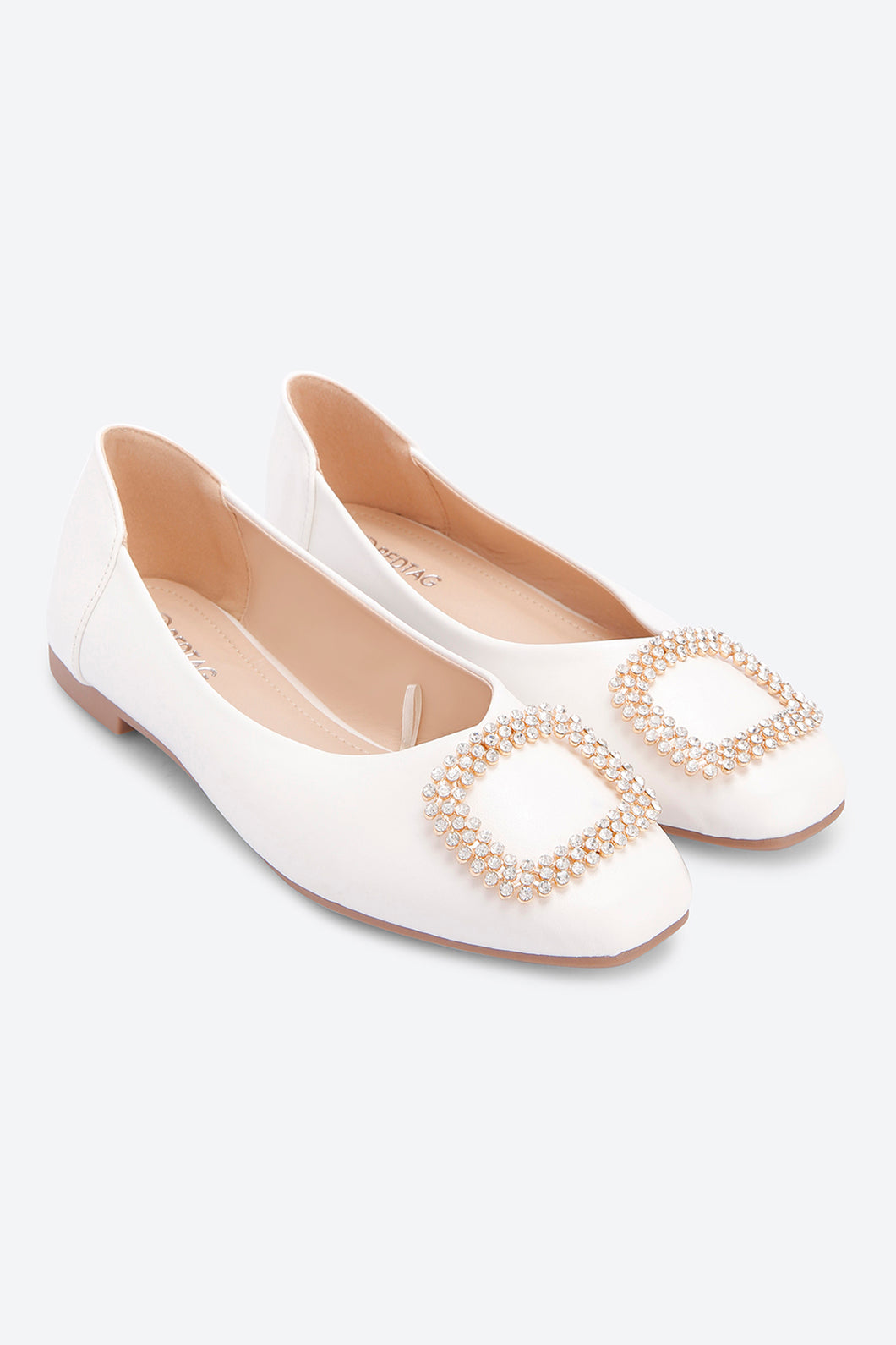 White Embellished Trim Ballerina