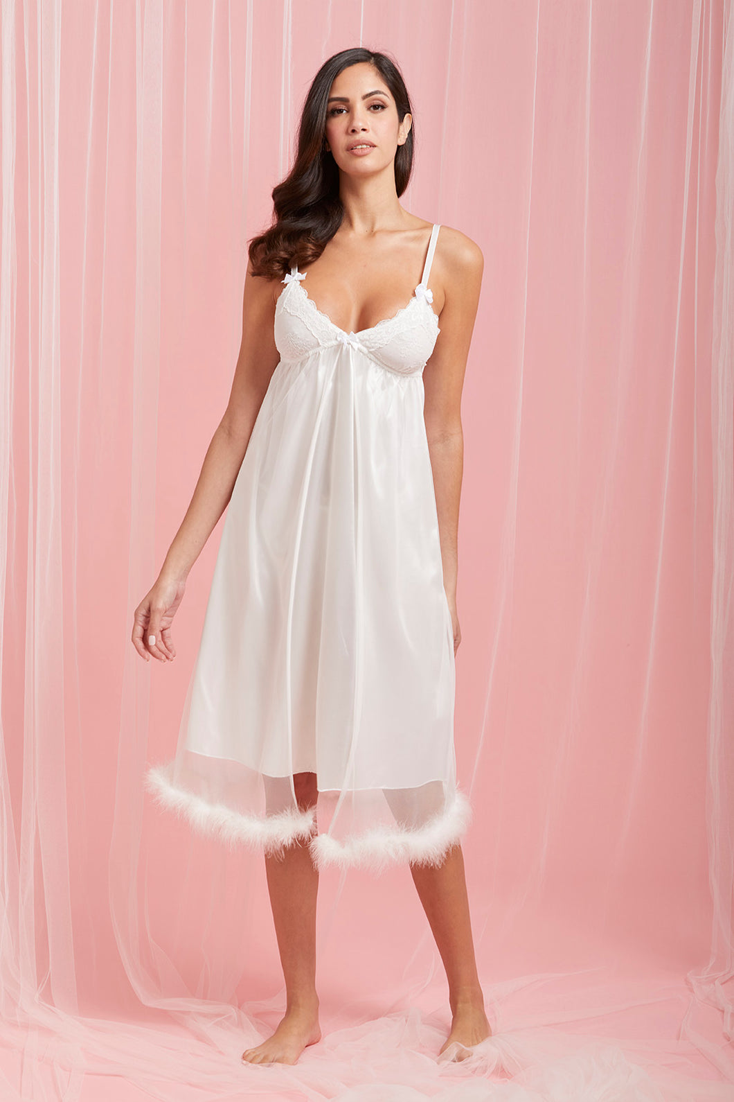 White Fine Mesh Chemise With Faux Fur Trim