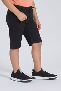 Black Pull-On Knit Denim Short