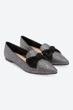 Load image into Gallery viewer, Black Bow Trim Glitter Loafer