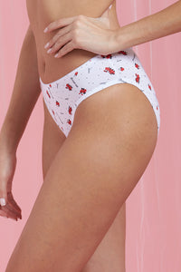 White Floral Print Brazilian Brief
