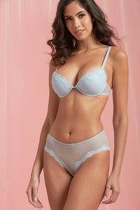 Pale Blue/White Padded Lace Plunge Bra (2-Pack)