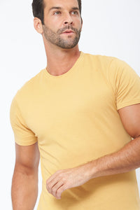 Gold Plain Crew Neck T-Shirt