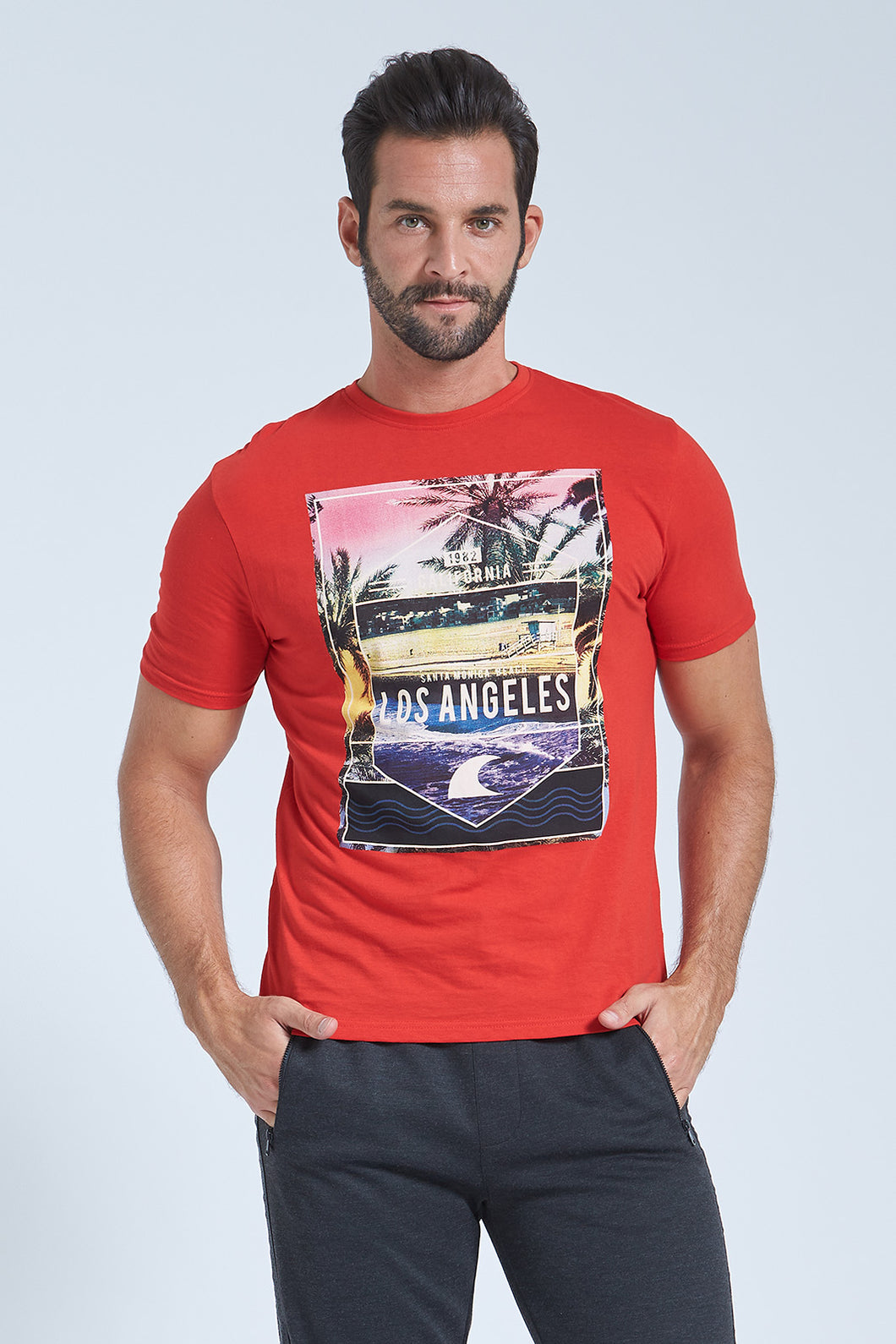 Red Los Angeles Print Regular Fit T-Shirt