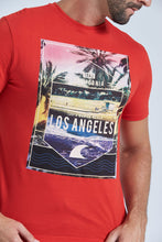 Load image into Gallery viewer, Red Los Angeles Print Regular Fit T-Shirt