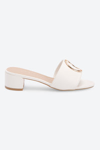 White Buckle Trim Mule
