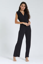 Load image into Gallery viewer, Black Sleeveless Jumpsuit With Gold Shoulder Detail