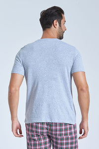 Grey T Shirt And Navy Check Short Pyjama Set