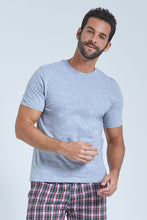 Load image into Gallery viewer, Grey T Shirt And Navy Check Short Pyjama Set