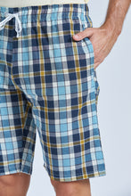 Load image into Gallery viewer, Yellow T-Shirt And Navy Check Short Pyjama Set
