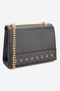 Black Cross Body Stud Embellishment