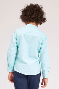 Mint Plain Mandarin Collar Shirt